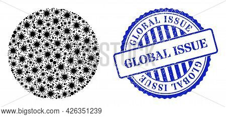 Bacilla Mosaic Circle Icon, And Grunge Global Issue Seal Stamp. Circle Collage For Medical Templates