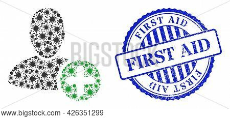 Covid-2019 Mosaic Add User Icon, And Grunge First Aid Seal Stamp. Add User Collage For Breakout Temp