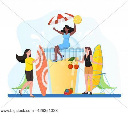 Group Of Female Friends Is Having Fun With Coctails In The Summer Together. Friends Having A Summer