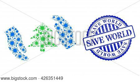 Bacilla Collage Fir Tree Care Hands Icon, And Grunge Save World Seal Stamp. Fir Tree Care Hands Mosa