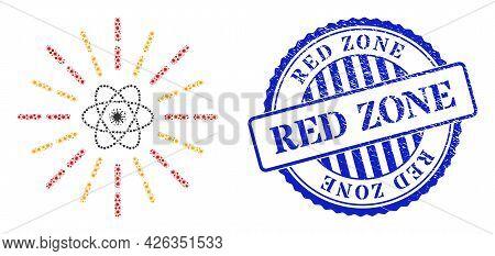 Bacilla Mosaic Atomic Radiation Icon, And Grunge Red Zone Stamp. Atomic Radiation Mosaic For Medical