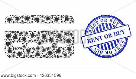 Covid-2019 Collage Credit Card Icon, And Grunge Rent Or Buy Seal. Credit Card Mosaic For Pandemic Te