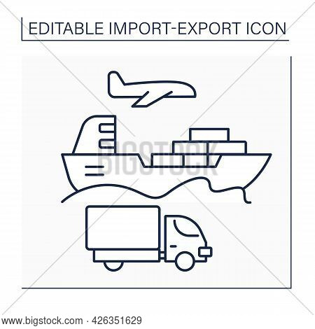 Ship Line Icon. Vessel Of Considerable Size For Deep-water Navigation. Import And Export Concept. Is
