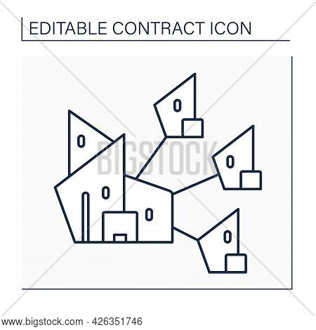 Parent Company Line Icon. Company Has Controlling Interest In Other Enterprises. Distance Controls A