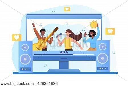 Music Band Is Playing Live Show Online On Computer. Concept Of Online Concert Of Famous Musicians An