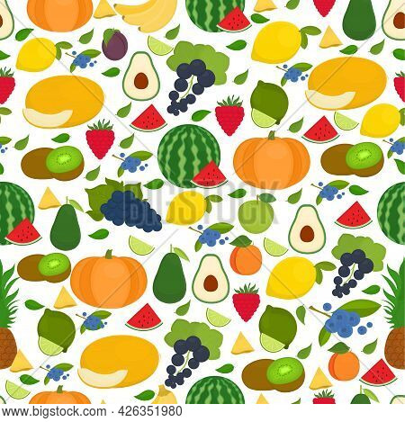Seamless Vector Pattern With Fruits On A Light Background.