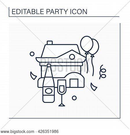 Housewarming Line Icon. Celebration In Honor Of Buying New Residence. Celebrating Concept. Isolated