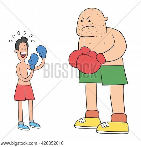 Cartoon Two Boxers In The Ring, One Weak And Afraid, The Other Big-bodied, Vector Illustration. Colo