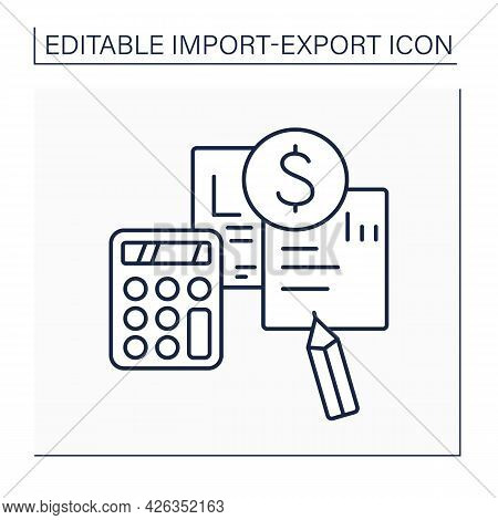 Pro Forma Invoice Line Icon.preliminary Bill Of Sale.document Describes Purchased Items, Shipping, W