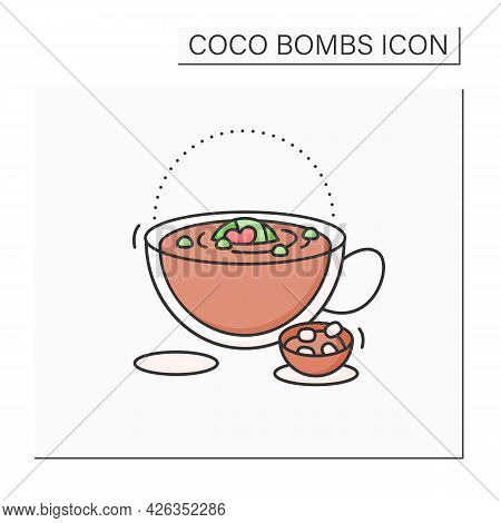 Coco Bomb Color Icon. Delicious Dessert. Cute Ball Of Chocolate With Marshmallows Filling Inside. Me