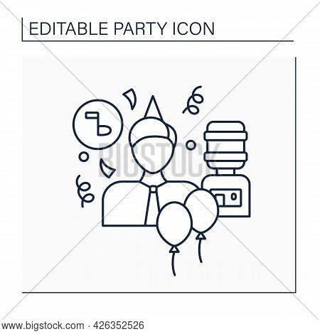 Office Party Line Icon. Party For All People In Company, Department. Birthday Celebration With Colle