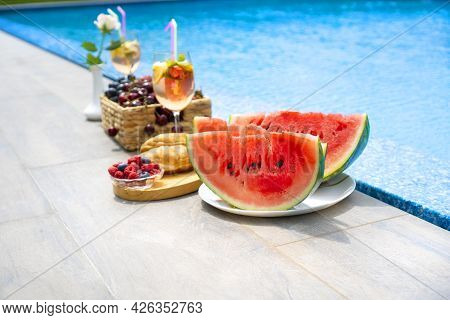 Breakfast By The Pool. Watermelon, Berries, Croissants, Non-alcoholic Cocktails By The Pool.