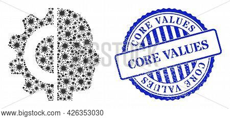 Coronavirus Collage Cyborg Head Icon, And Grunge Core Values Seal. Cyborg Head Mosaic For Breakout T