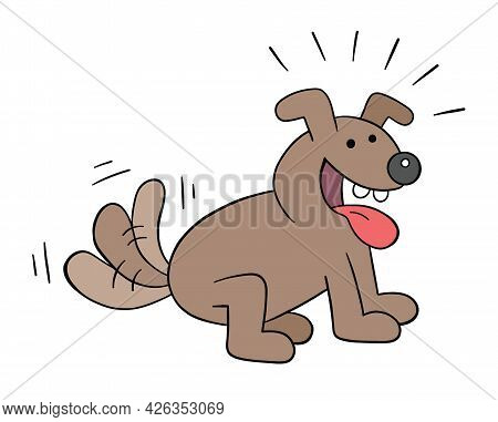 Cartoon The Dog Is Very Excited And Wags Its Tail, Vector Illustration. Colored And Black Outlines.
