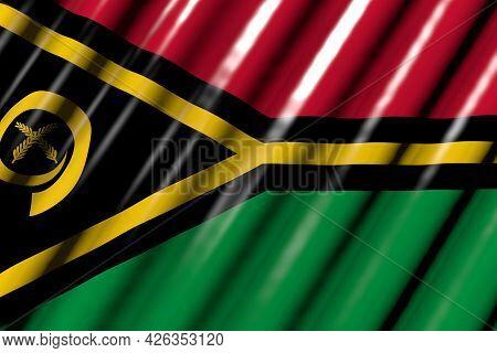 Nice Any Holiday Flag 3d Illustration  - Shining - Looks Like Plastic Flag Of Vanuatu With Big Folds