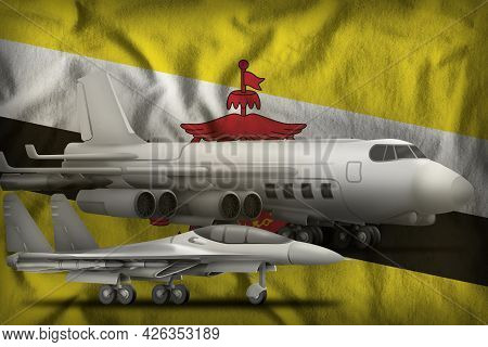 Air Forces On The Brunei Darussalam Flag Background. Brunei Darussalam Air Forces Concept. 3d Illust