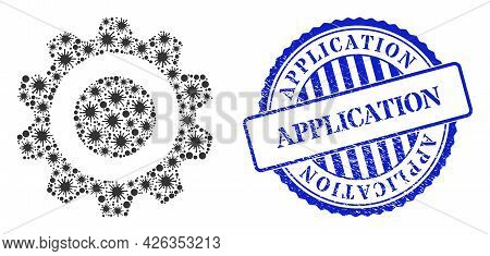 Covid Mosaic Gear Icon, And Grunge Application Stamp. Gear Collage For Epidemic Templates, And Textu