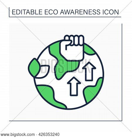 Eco Activism Line Icon. Engagement In Campaigns With Aim Of Preventing Damage To Environment. Fight