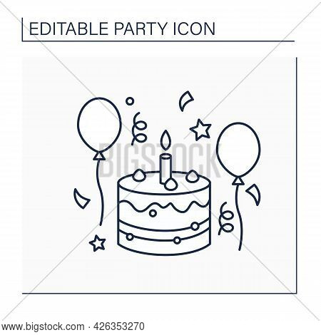 Birthday Line Icon. Party Held On Birth Anniversary. Celebration With Big Cake, Music, Friends And R