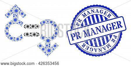 Virus Mosaic Gay Relation Symbol Icon, And Grunge Pr Manager Seal Stamp. Gay Relation Symbol Mosaic