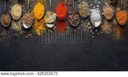 Indian Condiments With Copy Space View. High Quality Beautiful Photo Concept