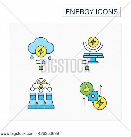 Energy Color Icons Set. Thunderstorm, Solar, Wind Energy. Fusion Reactor, Thermoelectric Generator.