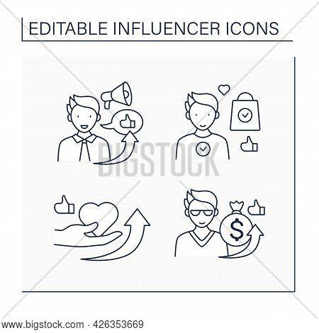 Influencer Line Icons Set. Influencer Sponsorship, Outreach, Ambassador, Marketing. Blogging Concept