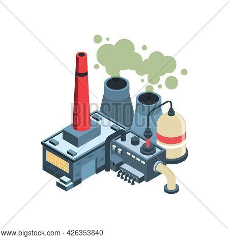Isometric Environmental Pollution Icon With Factory Polluting Air 3d Vector Illustration
