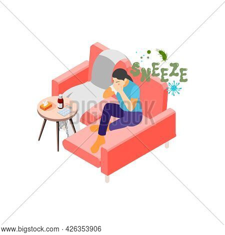 Flu Isometric Icon With Medication On Table And Sick Woman Sneezing 3d Vector Illustration