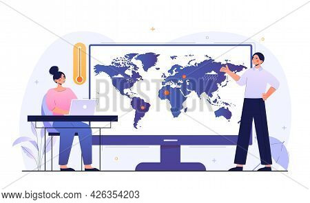 Female Character Watching Weather Forecast Online On Laptop. Sun, Clouds, Wind, Rain On World Map. M