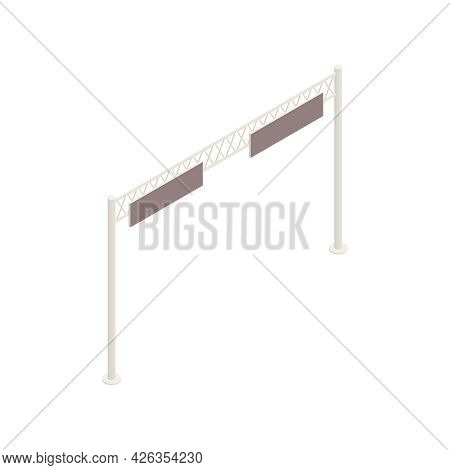 Isometric Icon With Overhead Catenary System Above Railroad 3d Vector Illustration