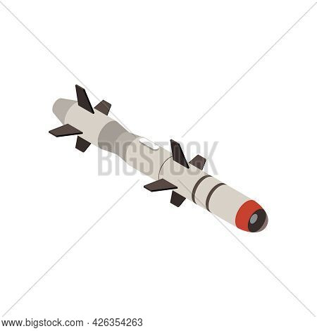 Isometric Icon With Military Missile On White Background 3d Vector Illustration