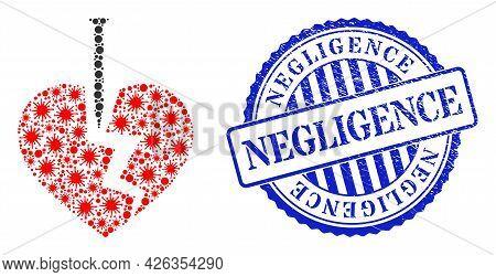 Viral Mosaic Break Valentine Heart Icon, And Grunge Negligence Seal Stamp. Break Valentine Heart Col