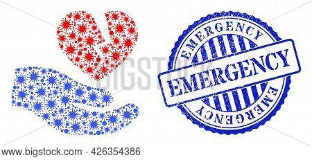 Virulent Collage Broken Heart Offer Hand Icon, And Grunge Emergency Seal Stamp. Broken Heart Offer H