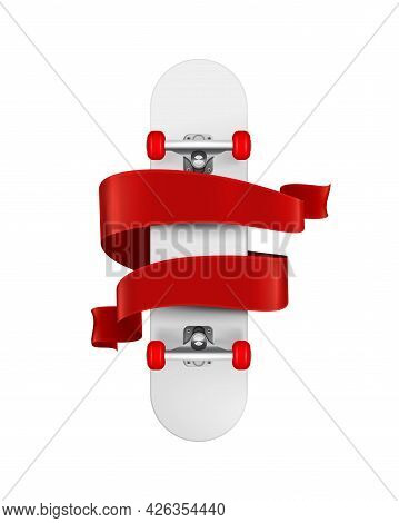 Realistic Emblem With Bottom View Skateboard And Red Ribbon Vector Illustration