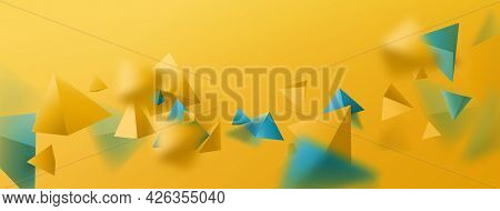 Abstract Yellow And Blue 3d Polygon Chaotic Background. Colorful Summer Background. Vector Illustrat
