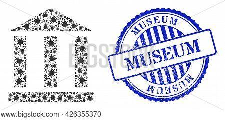 Coronavirus Mosaic Library Building Icon, And Grunge Museum Seal Stamp. Library Building Mosaic For