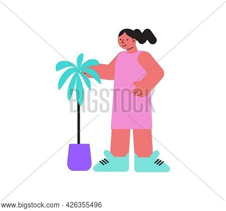 Floristry Flat Icon With Woman And Small Palm Tree In Pot Vector Illustration