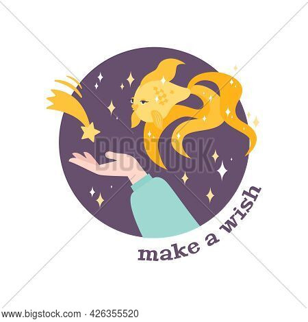 Dream Make Wish Flat Composition With Goldfish Shooting Star And Human Hand Vector Illustration