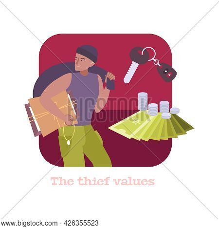 Pawnshop Flat Composition With Character Of Thief Money And Car Key Vector Illustration