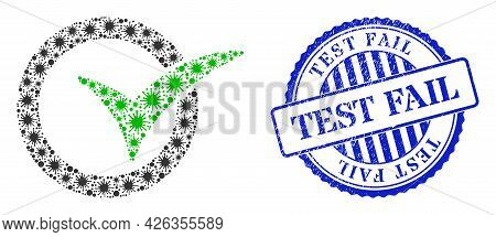 Viral Mosaic Yes Vote Icon, And Grunge Test Fail Seal Stamp. Yes Vote Mosaic For Pandemic Templates,