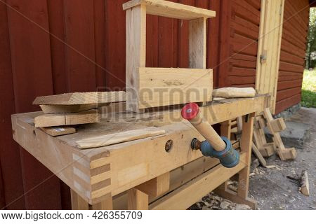 Vintage Woodworking Tools On A Rough Workbench. Carpentry, Craftsmanship And Handwork Concept
