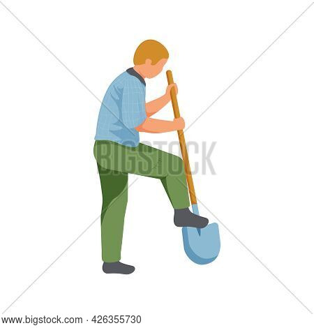 Gardening Flat Icon With Man Digging With Shovel Vector Illustration