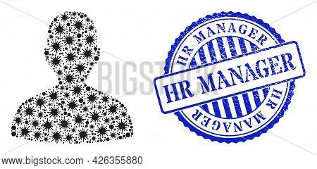 Covid-2019 Mosaic Person Profile Icon, And Grunge Hr Manager Seal Stamp. Person Profile Mosaic For B