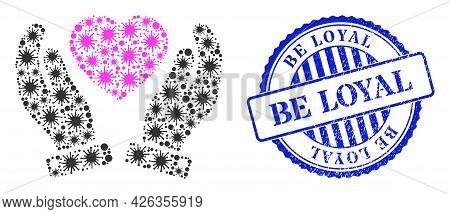 Bacterium Collage Valentine Heart Care Hands Icon, And Grunge Be Loyal Seal Stamp. Valentine Heart C