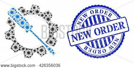 Bacterium Collage Wrench Tuning Icon, And Grunge New Order Seal. Wrench Tuning Collage For Pandemic