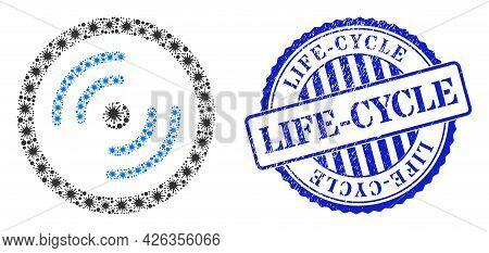 Covid-2019 Mosaic Rotor Rotation Icon, And Grunge Life-cycle Seal. Rotor Rotation Mosaic For Breakou