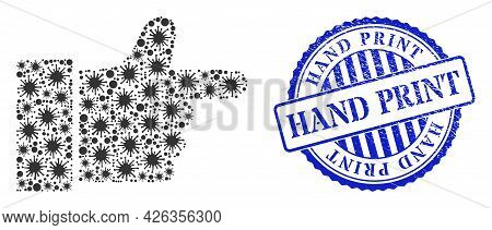 Infection Collage Index Finger Icon, And Grunge Hand Print Seal Stamp. Index Finger Mosaic For Medic