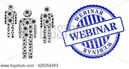 Bacilla Mosaic Men Figures Icon, And Grunge Webinar Seal Stamp. Men Figures Mosaic For Medical Templ