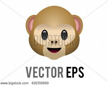 The Isolated Vector Brown See No Evil Monkey Face Mizaru Icon, One Of The Three Wise Monkeys